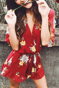 Sexy Floral Deep V Belted Chiffon Romper