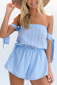 Fashion Stripe Off Shoulder Vacation Romper