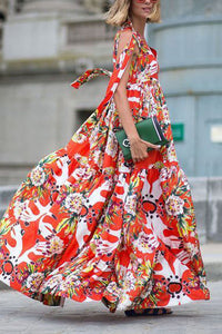 Casual Floral Print Sleeveless Loose Maxi Dress