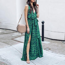 Green Bohemia Sleeveless Printed Maxi Dress
