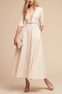 Sexy Elegant Deep V Pocket Maxi Dress