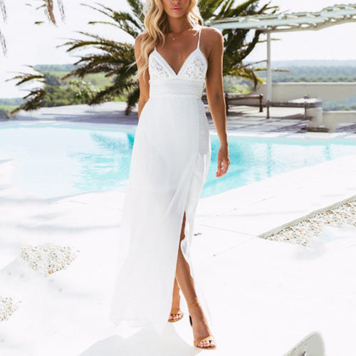White Backless Vacation Maxi Dress