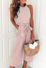 Fashion Casual Stripe Sleeveless Jumpsuit