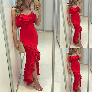 Red Sexy V Neck Sleeveless Wedding Maxi Dress
