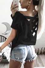 Backless Cross Straps  Plain T-Shirts