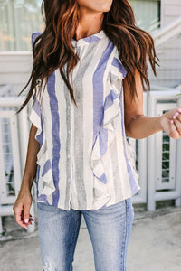 Crew Neck  Flounce Single Breasted  Striped  Blouses