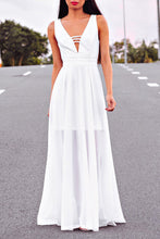 Sexy V Neck Sleeveless Plain Maxi Dress