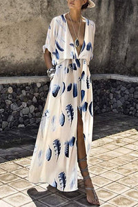 V-Neck Elastic Waist Floral Print Plain Maxi Dress