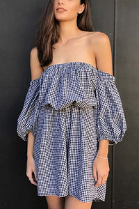 Off Shoulder  Gingham  Long Sleeve Casual Dresses
