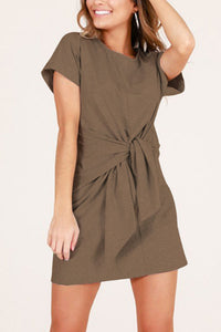 Round Neck  Belt  Short Sleeve Casual Dresses