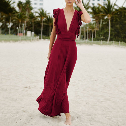 Sexy Plain Short Sleeves Vacation Maxi Dress