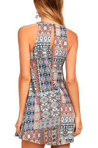 Crew Neck  Printed  Sleeveless Casual Dresses