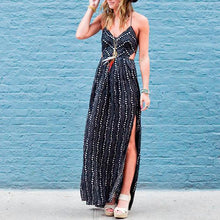 Sexy Spaghetti Straps Hollow Out Printed Maxi Dress