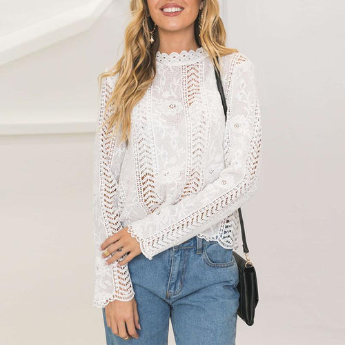 Lace Hollow Out Elegant Blouse