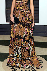 Sexy Coffee Sleeveless Floral Print Maxi Dress