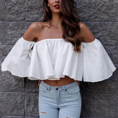 Off-The-Shoulder Ruffled Five-Point Sleeve Blouses
