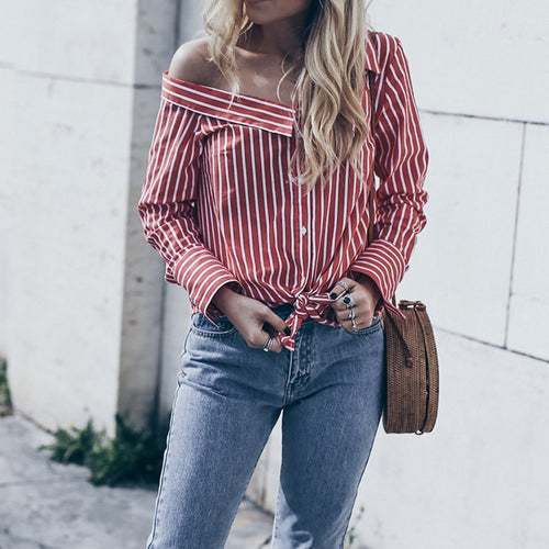 Stylish Stripe Long Sleeve Blouse