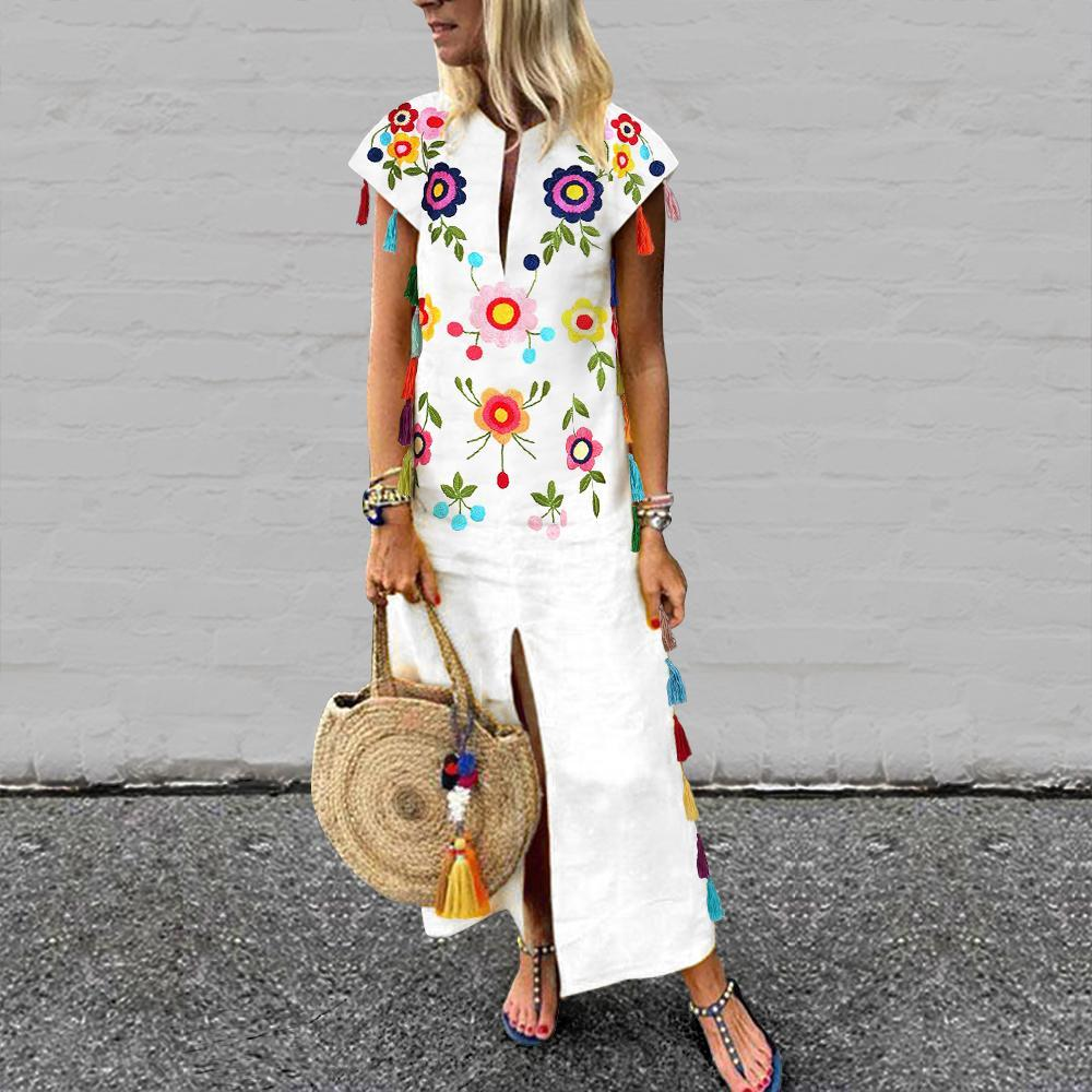 Vintage Printed Fringed White Casual Dresses