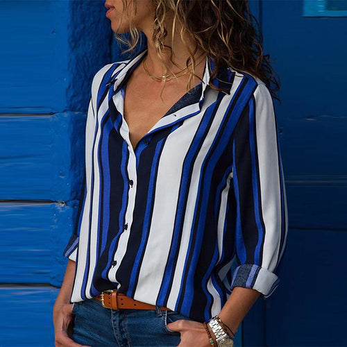 Fashion Color Block Stripes Long Sleeve Blouse