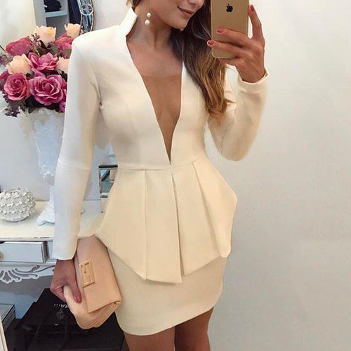 Sexy Plain Long Sleeve Vneck Line Bodycon Dress