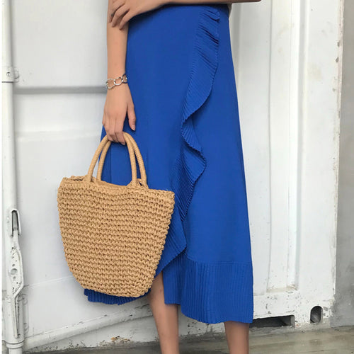 Sexy Plain Slim Ripple Fork Long Skirt