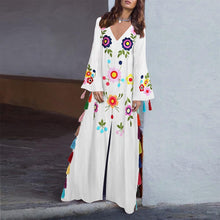 Cotton Vintage Printed V-Neck Bohemian Tassel Maxi Dress