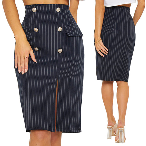Sexy Side Split Striped High Waist Slim Skirt