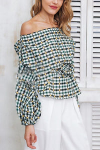 Sexy Plaid Elastic Waist Off Shoulder Puff Long Sleeve Blouse
