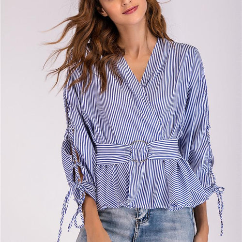 Sexy V Neck Stripe Long Sleeve Blouses