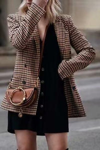 Fashion Plaid V Collar Long Sleeve Button Jacket Cardigan