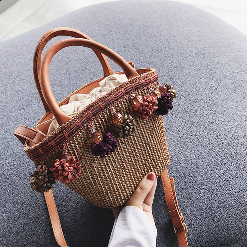 Fashion Plain Knitting Floral Pendant One Shoulder Hand Bag