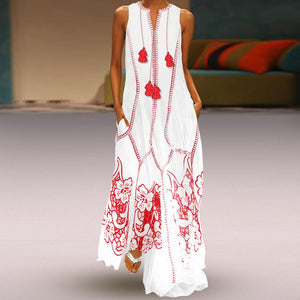 Chinese-Style Printed Cotton And Linen Casual Dress