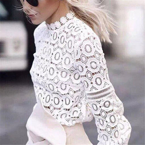 Hollow Lace Lantern Sleeves Fashion Blouse Tops
