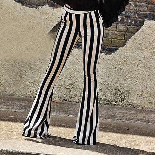 Black And White Stripes, Micro Lama Autumn High Waist Trousers.
