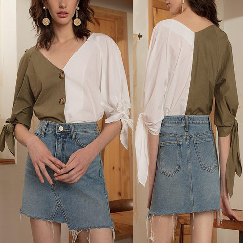 Front Button Stitching Contrast Color Blouses