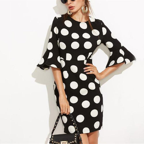 Elegant Slim Dot Long Sleeve Ruffled Cuff Bodycon Dress