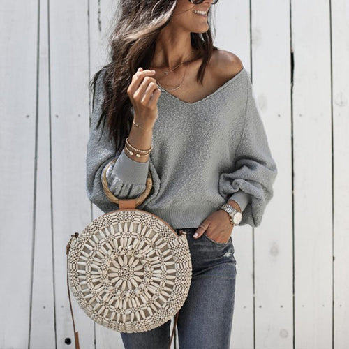 V Neck Plain Long Sleeve Knitting Sweaters