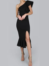 Sexy Off-The-Shoulder Ruffled Split Evening Dress
