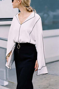 Elegant Business Casual Loose Plain V Collar Long Sleeve Blouse