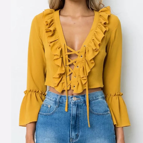 Elegant Ginger Lace-Up Bell Sleeve Blouse
