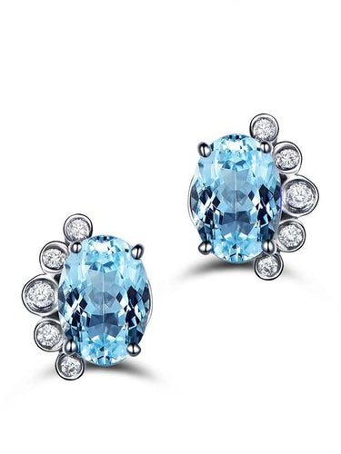 S925 Sterling Silver   Inlaid Natural Topaz Earrings