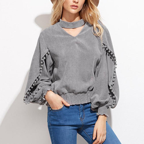 Turtle Neck Hollow Out Tassels Long Sleeve Blouses