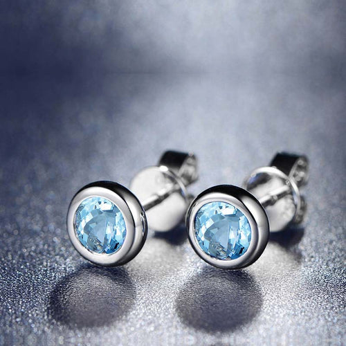 Light Luxury Fashion   Wild 925 Sterling Silver Stud Earrings Sweet Topaz Earrings
