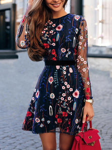 Fancy Long Sleeve Floral Dress With Embroidery
