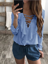 Ruffled Chiffon Lace-Up V-Neck Long Sleeve Blouse