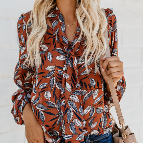 Sexy Printed Shirt Casual Wild Autumn Blouse