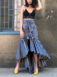 Modern Lace-Up Fishtail Striped Skirt
