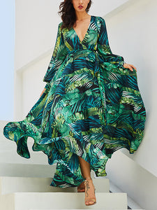 Bishop Sleeve V-Neck Floral Maxi Dress
