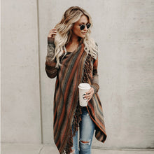 Casual Long Striped Cardigan With Tassel