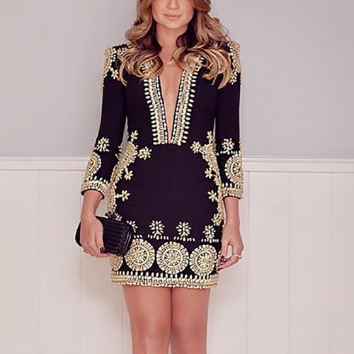 Elegant V Neck Long Sleeve Gilding Dress
